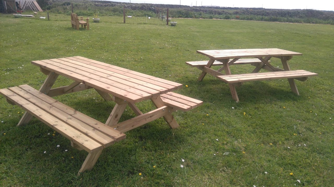 Benches on the campsite.