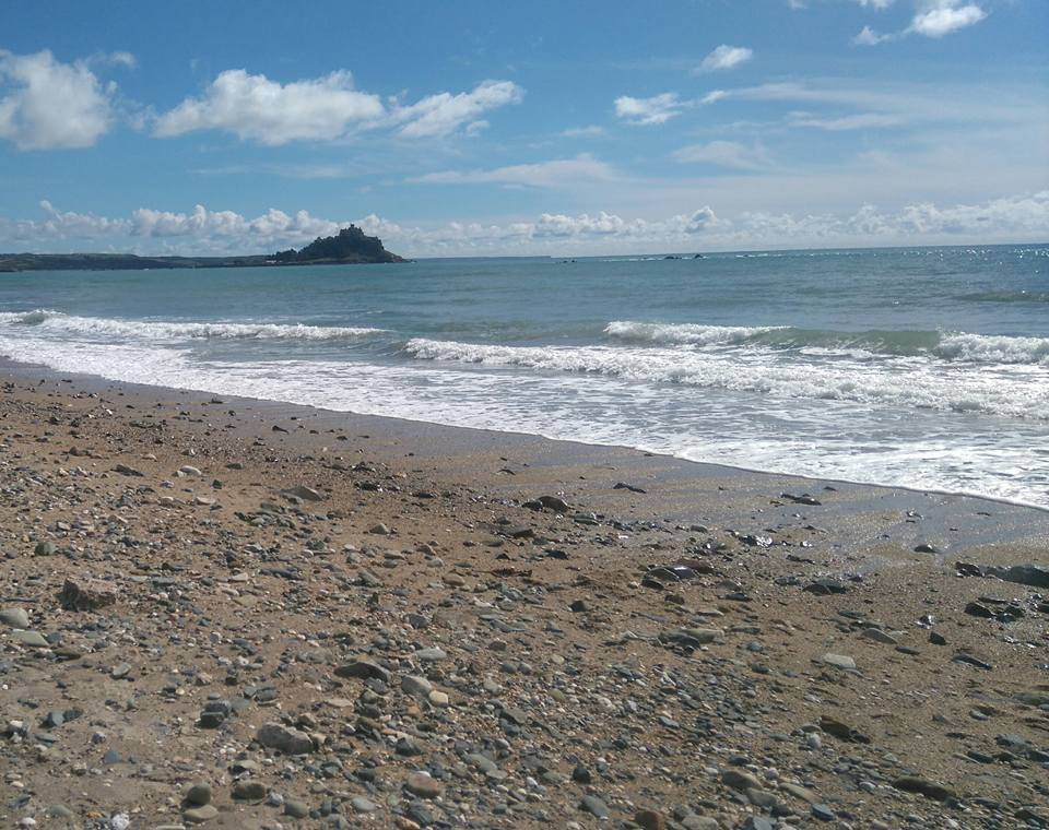 View of St Michaels Mount from the beach.