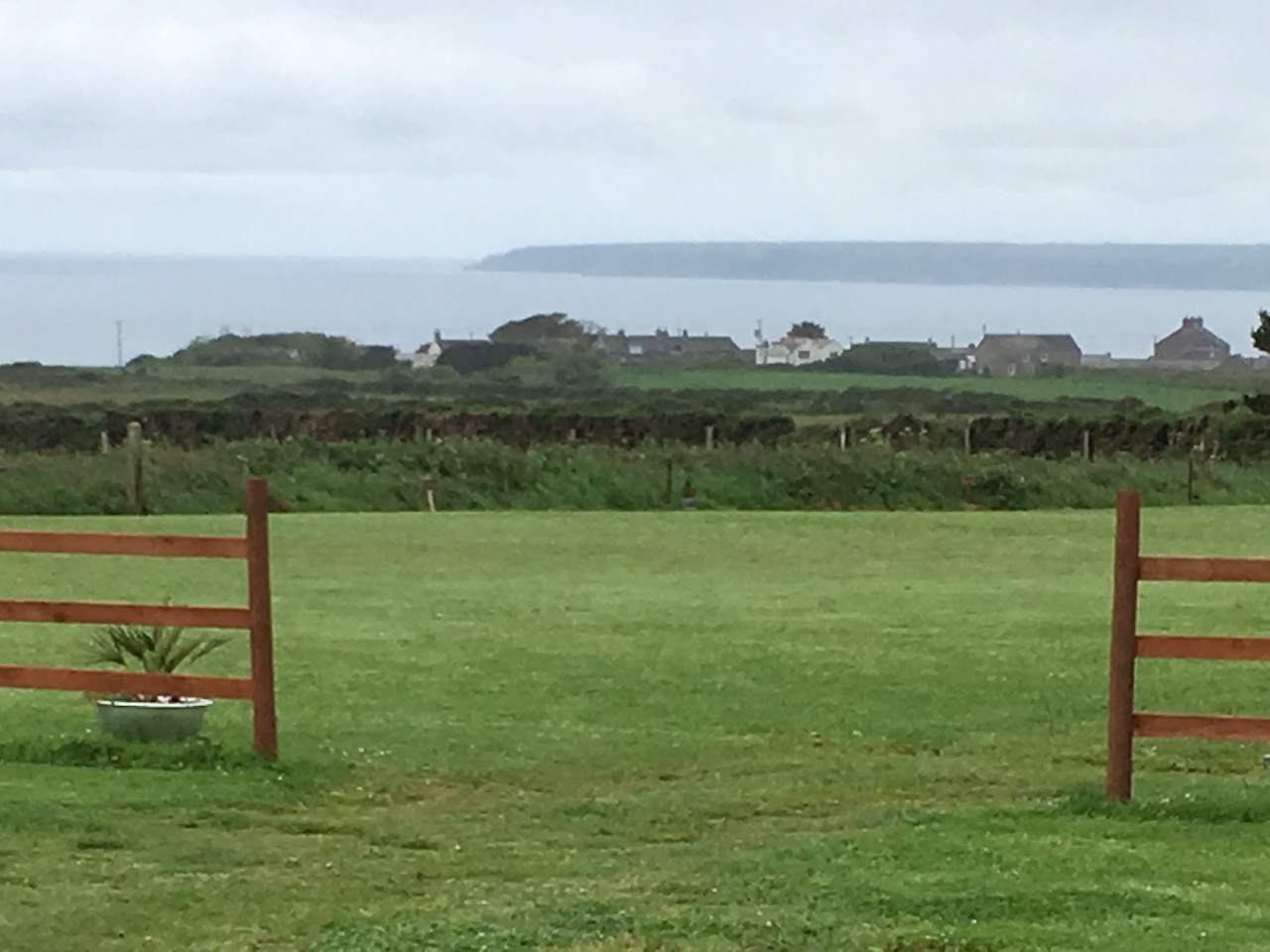 View of coastline and village from campsite